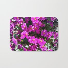 Primrose purple flower Bath Mat
