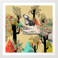 wolves Art Prints featuring Found You There  by Sandra Dieckmann