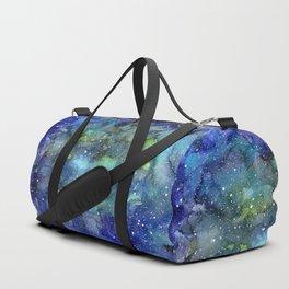 Space Galaxy Blue Green Watercolor Nebula Painting Duffle Bag