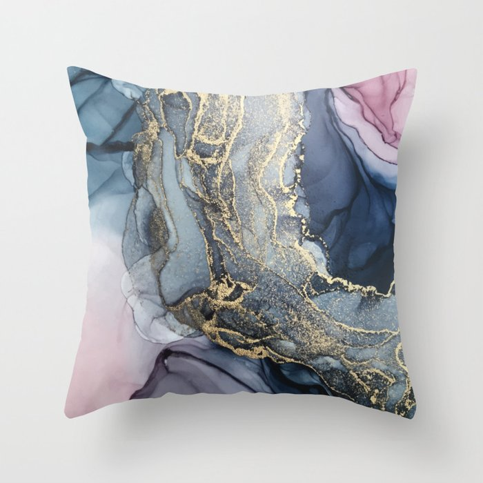 Blush, Payne's Gray and Gold Metallic Abstract Throw Pillow