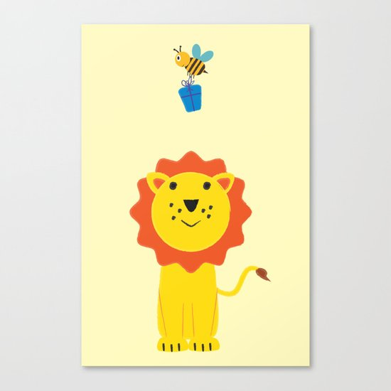 Lion and bee Canvas Print