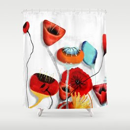 Ranunculus Poppies Anemone Bouquet Shower Curtain