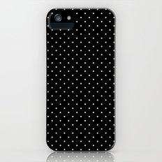 White polka dots on black Slim Case iPhone (5, 5s)