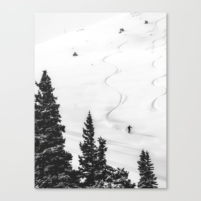 Backcountry Skier // Fresh Powder Snow Mountain Ski Landscape Black and White Photography Vibes Canvas Print