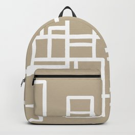 Architecture Stripe - Mid Century Modern Minimalist Geometric Pattern in White and Neutral Flax Solid Backpack