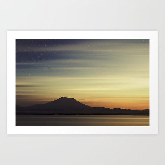 Volcano at Dawn Art Print