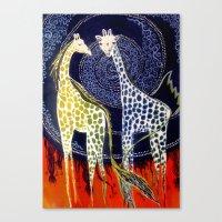 giraffes Canvas Prints featuring Giraffes by Ša Rūnė