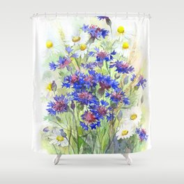 Meadow watercolor flowers with cornflowers Shower Curtain