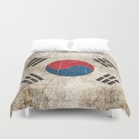 korean Duvet Covers featuring Vintage Aged and Scratched South Korean Flag by Jeff Bartels