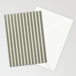 Large French Beige Mattress Ticking Black Double Stripes Stationery Cards