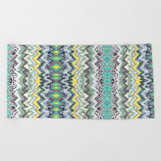 Teal Yellow White Midnight Aztec Beach Towel