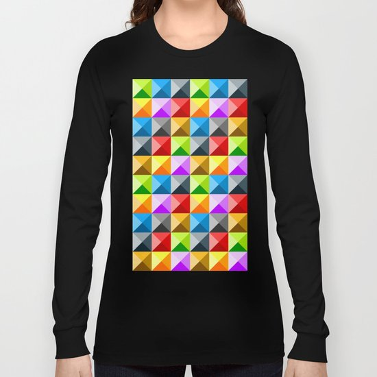Colorful quarter square triangle pattern Long Sleeve T-shirt