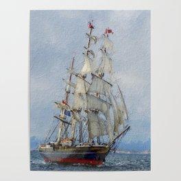 Clipper Ship Three Masted Sails Poster