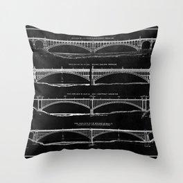 Washington Bridge Proposal Blueprint Throw Pillow