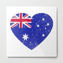 I Love Australia Heart  TShirt Football Shirt Soccer Gift Idea  Metal Print