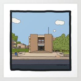 Cambridge struggles: Churchill College Art Print