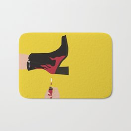Black & Red Flame Boot on Yellow Background Bath Mat