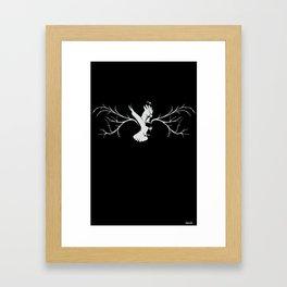 Jackdaw (white on black) Framed Art Print