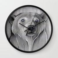 teddy bear Wall Clocks featuring Teddy Bear by Puddingshades