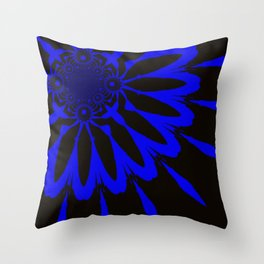 The Modern Flower Black and Blue Throw Pillow