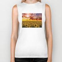 sunflowers Biker Tanks featuring sunflowers by Bekim ART