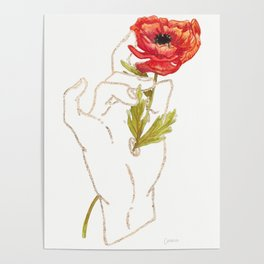 Poppy - Gold (Gilded Hands Series) Poster