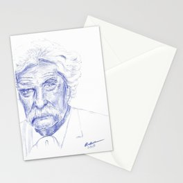 Mark Twain Portrait in Blue Bic Ink Stationery Cards