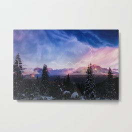 Stormy Skies over Mt. Shasta Metal Print