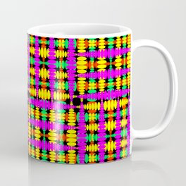 Strict poplite of intersecting blue squares and green curly rhombuses. Coffee Mug