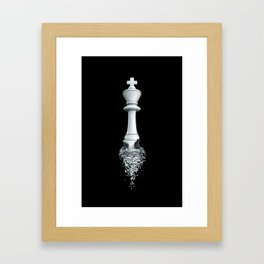 Farewell to the Pale King / 3D render of chess king breaking apart Framed Art Print