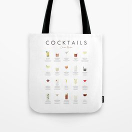 Cocktail Chart - Classic Cocktails Tote Bag