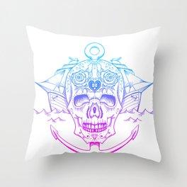 Retro Skull Neon Throw Pillow