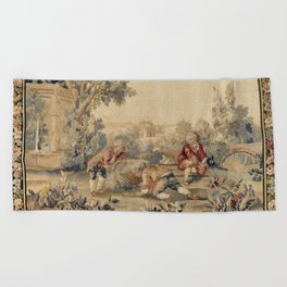 Aubusson  Antique French Tapestry Print Beach Towel