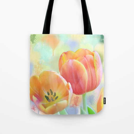Pastel Painterly Tulips Tote Bag