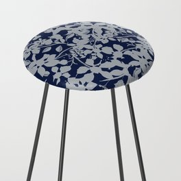 Blue and Grey Floral Pattern - Broken but Flourishing Counter Stool
