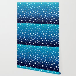 Elegant polka dots - Ocean Blue and White Wallpaper