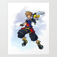 kingdom hearts Art Prints featuring Kingdom Hearts 2 - Sora by Outer Ring