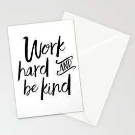 PRINTABLE Art, Work Hard And Be Kind,Motivational Quote,Work Hard Play Hard,Office Sign,Workout Quot Stationery Cards