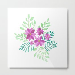 Watercolor Flowers for Emma Metal Print