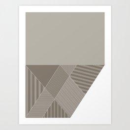Minimal Trangles Beige Art Print