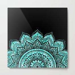 Black teal mandala Metal Print