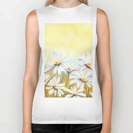 Daisies Watercolor Biker Tank