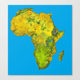 African Continent Topographical Relief Map Canvas Print