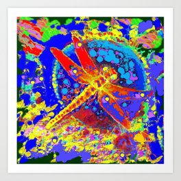 Red Dragonfly Splash Southwest Abstract Art Print