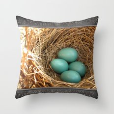 Four American Robin Eggs Throw Pillow