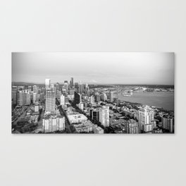 Seattle Skyline Harbor at sunset - black and white Canvas Print
