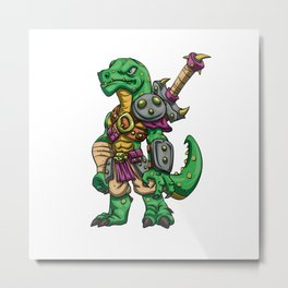 Lizard gladiator cartoon - dinosaur warrior illustration - tyrannosaurus character Metal Print