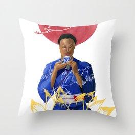 Asian Lotus Throw Pillow