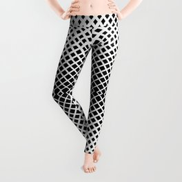 op art - black and white diamond grid Leggings