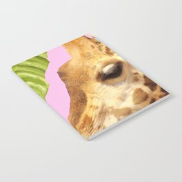Giraffe with green leaves on a pink background Notebook